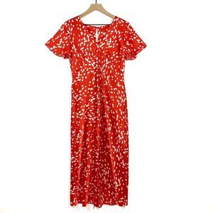 Topshop Red Dalmation Angel Sleeve Dress Size 6